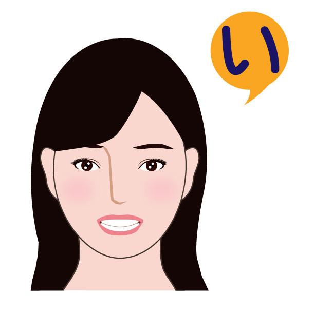 「い」を発音する顔