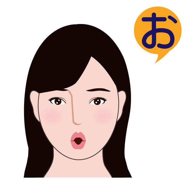 「お」を発音する顔